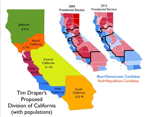Šest Kalifornija bi u novembru 2016. mogle postati stvarnost