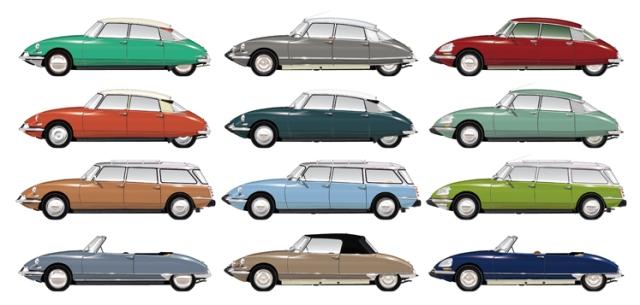 Karavan i kabriolet verzije, u tri kolone, i sa tri tipa 'nosa': prvi od 1956. do 1962, drugi od 1963. do 1967, i treći od 1968. do 1975.