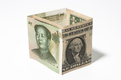 Chinese currency and American dollar