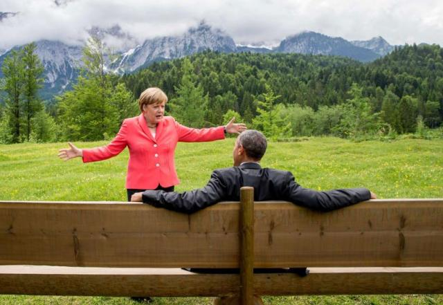 Merkelova i Obama u predahu samita G7, hotel Šlos-Elmau kod Garmiš-Partenkirhena, jug Nemačke (8. jun)