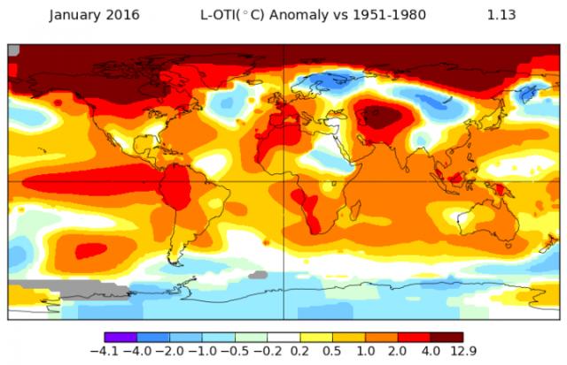 Januarske temperature širom sveta. Izvor: NASA/GISS