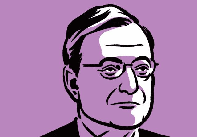 Mario Draghi. Ilustracija: Bloomberg