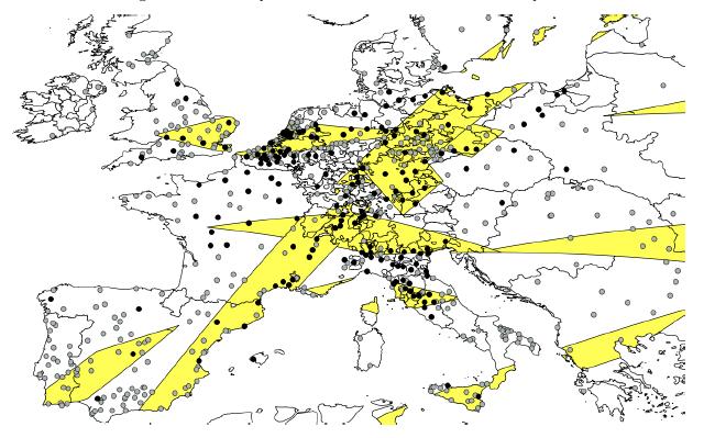 Slika 3: Delovi Evrope sa više od jednog potpunog ili prstenastog pomračenja sunca