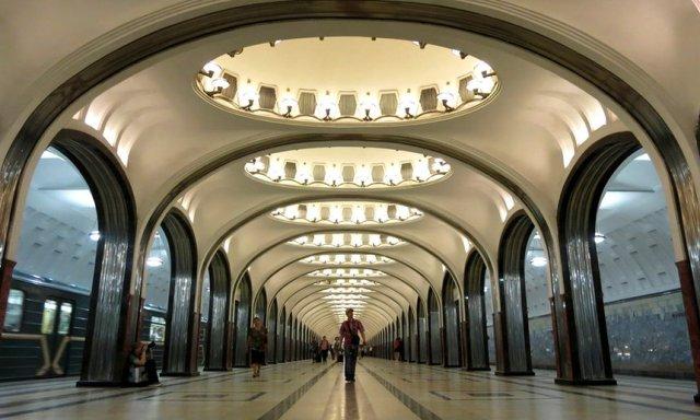 """Stanica podzemne železnice """"Majakovskaja"""", Moskva"""