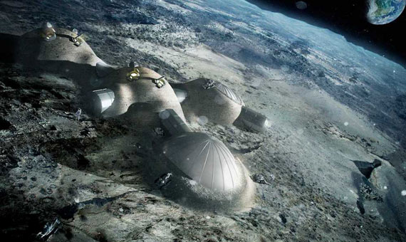 Lunarna kolonija sa kućama prekrivenim regolitom. Foto: Foster+Partners