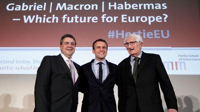 """Gabrijel, Makron i Habermas na debati """"Koja Budućnost za evropu""""? Foto: n-tv"""