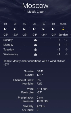 Freezing Days in Moscow...