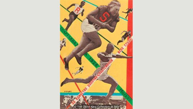 """Moskovska """"Sindikalistička Olimpijada"""" Gustava Klutsisa (1928), jednog od prvih umetnika u SSSR koji su pravili foto-montaže"""