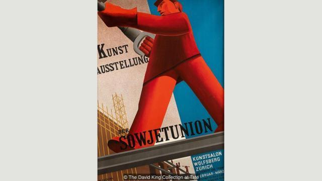 Plakat Valentine Kulagine za Izložbu umetnosti Sovjetskog Saveza (1931), sa delima u čijim kompozicijama dominiraju ogromne figure koje simbolišu manuelni rad
