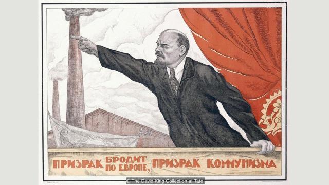 """""""Prikazanje koje se širi Evropom, prikazanje komunizma"""" (1924) Valentin Šerbakov oslikao je Lenjina u jednoj od klasičnih i često rabljenih poza"""