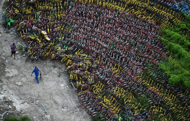 15. Kinezi šetaju kraj napuštenih bicikala, smeštenih na privremenom parkingu u Šangaju (24. avg 2017, Chandan Khanna/ AFP/ Getty)
