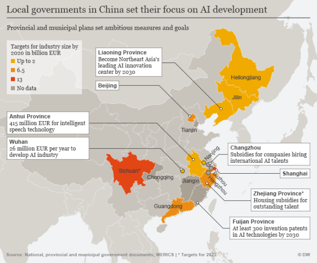 Infografik prikazuje kineske centre za razvoj AI tehnologija