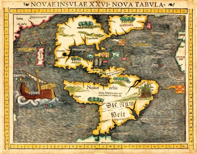 Mapa Sebastijana Munstera objavljena 1540, prva koja je Ameriku prikazala kao kontinent