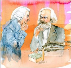 Adam Smit i Karl Marks u akvarel-karikaturi