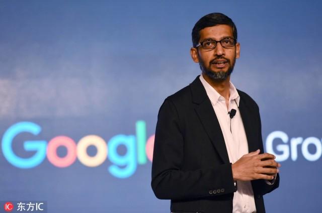 CEO Gugla, Sundar Pichai na jednoj od Guglovih prezentacija, u kooperaciji sa malim preduzećima u hotelu Taj Palace 4. januara 2017. godine u Nju Delhiju, Indija. [Photo / IC]