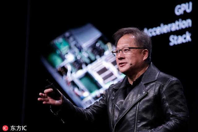 """Predsednik i CEO kompanije Nvidia Jensen Huang govori na godišnjoj konferenciji """"GPU Technology"""" u Tajpeju, Tajvan, Kini, 30. maja 2018. godine. [Fotografija / IC]"""