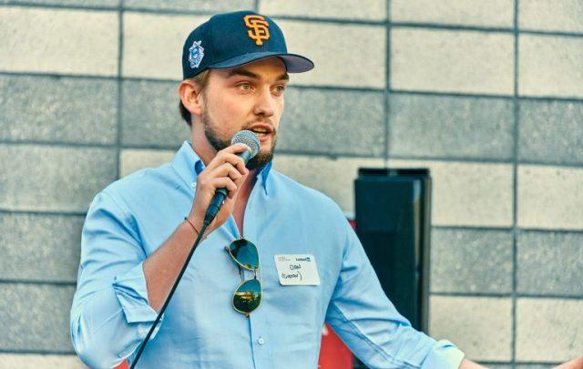 Jan Jedlinski, generalni direktor Gustav-a, predstavlja svoj startup na događaju u organizaciji Open Austria u sedištu Linkedina u Mauntin Vjuu u Kaliforniji; Foto: Annet Katan. Ljubaznošću Open Austria