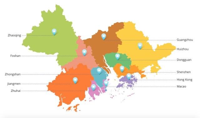 11 gradova Zalivske oblasti koji pripadaju razvojnom programu Kine za visoke tehnologije i inovacije