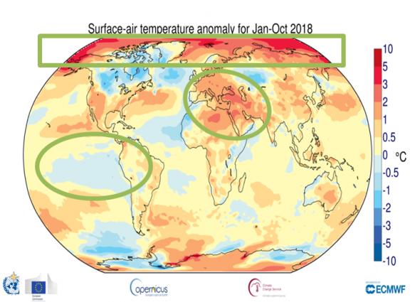 Temperaturne anomalije na Zemljioj površini u periodu januar - oktobar 2018