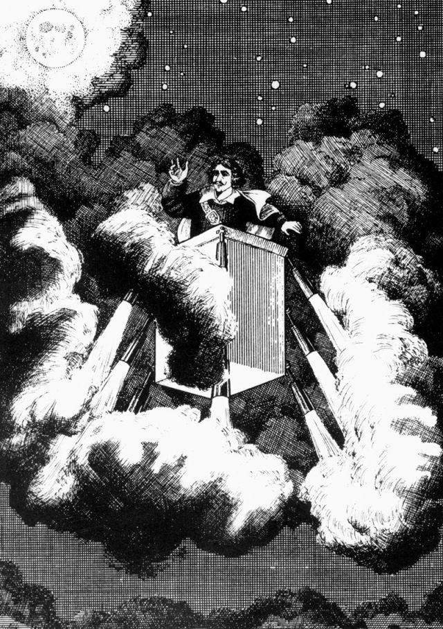 Cyrano de Bergerac leti ka Mesecu u mašini pokretanoj vatrometnim raketama (Interfoto/Alamy)